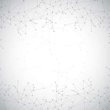 分子幾何学的な灰色の背景と通信します。ドットの接続線は。ベクトルの図。  イラスト・ベクター素材