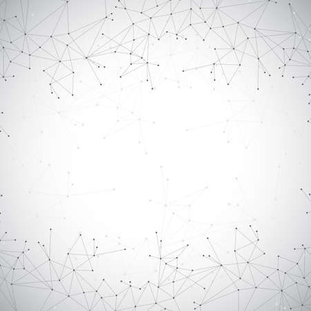 Geometric grey background molecule and communication . Connected lines with dots. Vector illustration. Vectores