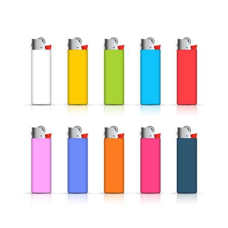 encendedores: Conjunto de encendedores de colores. Plantilla para la identidad corporativa aislado sobre fondo blanco. colecci�n realista.