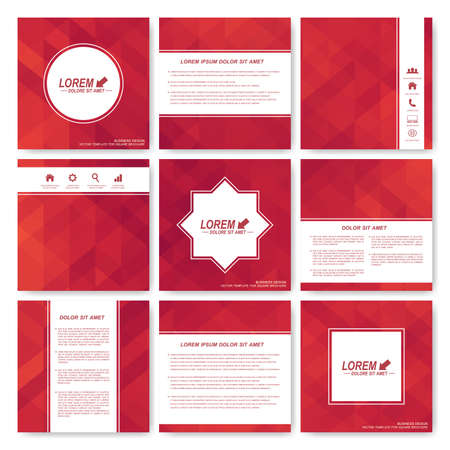editable sign: Red set of brochure. Square brochure template . Business, science, medicine and technology design . Cover layout . Red card. Background with red triangles. Illustration