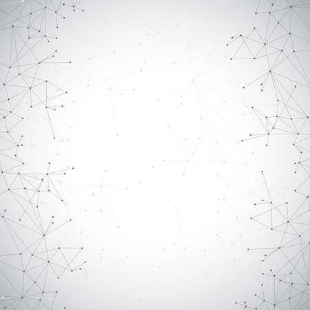 Geometria cząsteczki szare tło i komunikacja. Połączone linie z kropkami.