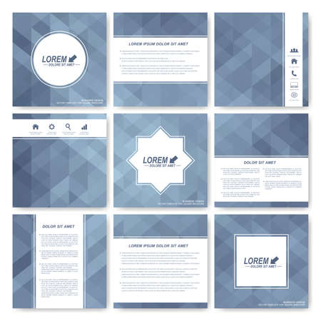 editable sign: Grey set of brochure. Square brochure template . Business, science, medicine and technology design. Gray background card. Cover layout  with grey triangles. Illustration