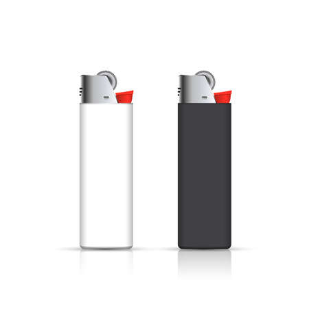 souvenirs: Black and white lighters  isolated on white. for corporate identity. Advertising template.