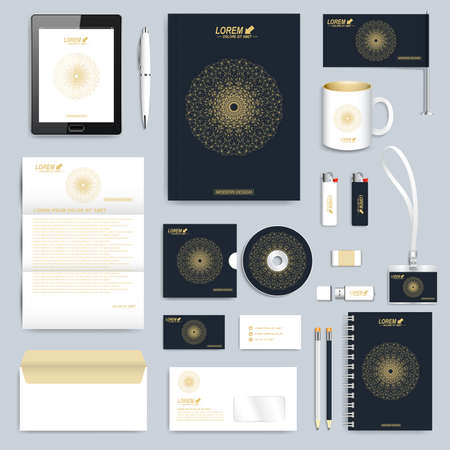 stationery: Black set of corporate identity template. Modern business stationery mock-up. Branding design with round golden form connected lines and dots . Medicine, science, technology concept.