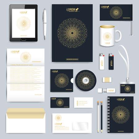 membrete: Negro conjunto de plantilla de identidad corporativa. la empresa de papelería moderna maqueta. diseño de la marca con líneas de forma conectada de oro redondas y puntos. La medicina, la ciencia, la tecnología concepto.