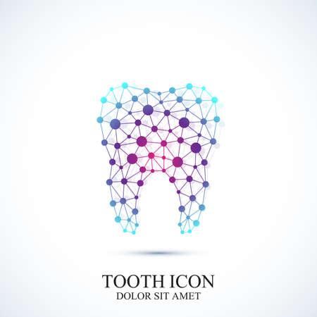 Tand vector icon template. Medische ontwerp. Bureau van de tandarts pictogram. Mondverzorging tandheelkundige kliniek met aangesloten lijnen en stip. Stock Illustratie
