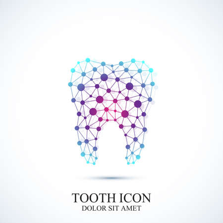 oral care: Tooth vector icon template. Medical design. Dentist office icon. Oral care dental  clinic with connected lines and dot.
