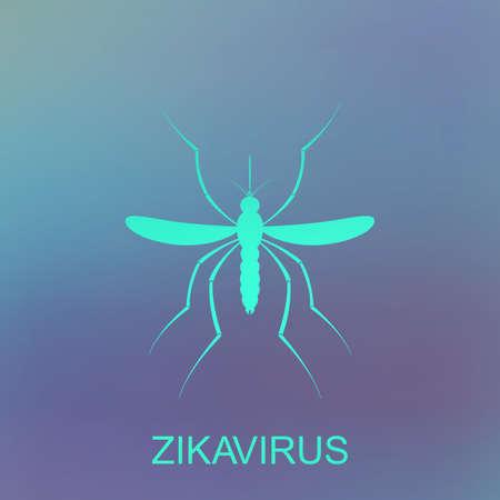 Zika mosquito vector. Virus alert. Aedes Aegypti isolated on blue background. Illustration