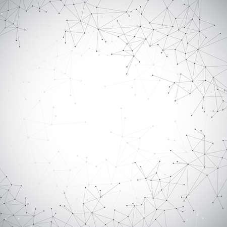 Geometrische grijze achtergrond molecuul en communicatie. Verbonden lijnen met stippen. Vector illustratie. Stock Illustratie