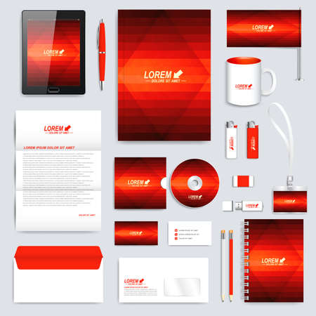 dark red: Red set of vector corporate identity template. Modern business stationery mock-up. Background with dark red triangles. Branding design.