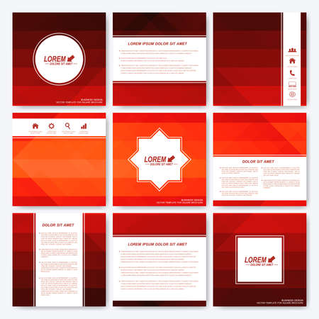 dark red: Red set of square template brochure. Business, science, medicine and technology design. Cover layout. Background with dark red triangles.