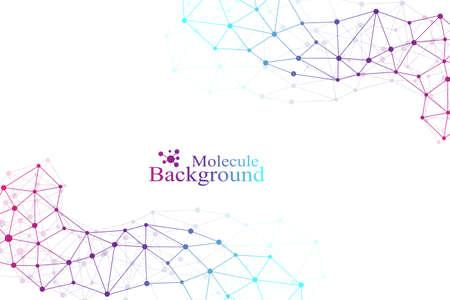 Grafische achtergrond molecuul en communicatie. Verbonden lijnen met stippen. Geneeskunde, wetenschap, technologie ontwerp .Vector illustratie. Stock Illustratie