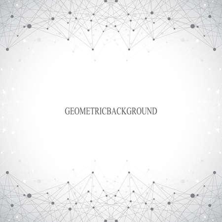 Geometrische grauen Hintergrund Molekül und Kommunikation. Verbunden Linien mit Punkten. Vektor-Illustration. Standard-Bild - 55193248