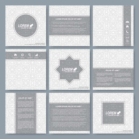 Modern vector templates for square brochure, cover, layout, card or magazine. Business, science, medicine and technology design. Background seamless pattern in arabian style. Illustration