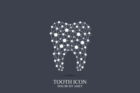 Tooth vector logo template. Tooth icon. Medical design. Dentist office icon. Oral care dental and clinic. Tooth logo. Tooth with connected lines and dot.