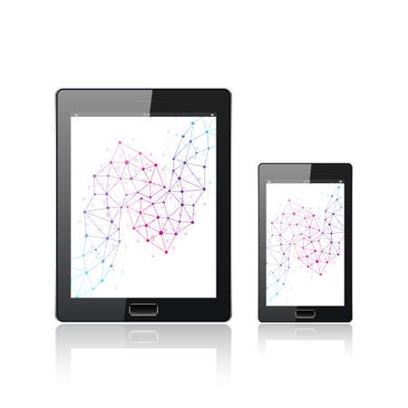 tecnology: Modern digital tablet PC with mobile smartphone isolated on the white. Mobile application interface. Molecule and communication background. Science and tecnology concept. Vector Illustration.
