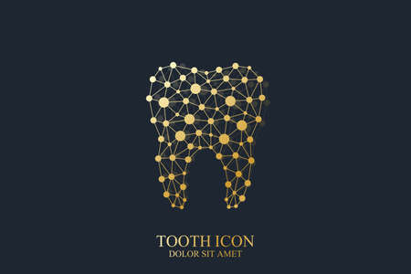 oral care: Tooth vector template icon with connected lines and dot. Medical design. Oral care dental clinic. Illustration
