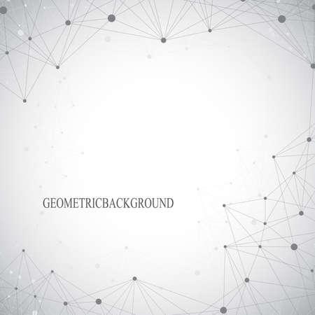 Geométrica fondo gris molécula y comunicación. Líneas conectadas con puntos Ilustración vectorial Ilustración de vector