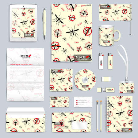 aedes: Zika virus set of vector corporate identity template. Modern business stationery mock-up. Zika mosquito backgraund. Aedes Aegypti seamless pattern. Branding identity design with mosquito.