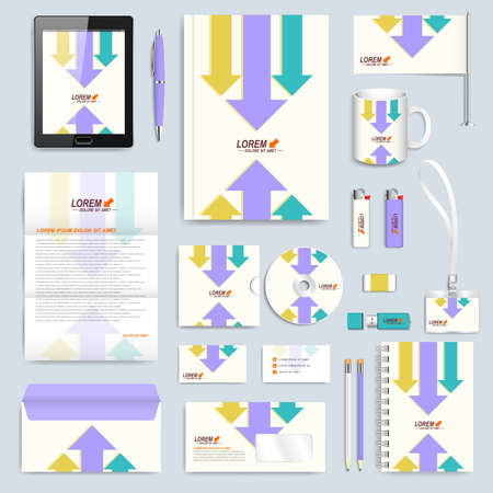 Set of vector corporate identity template. Modern branding stationery mock-up. Background with colorful arrows. Business, science, medicine or technology design. Vector Illustration