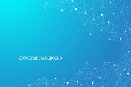 Geométrica molécula fondo gráfico y comunicación. líneas conectadas con puntos. Concepto de la ciencia, la química, la biología, la medicina, la tecnología. Ilustración del vector.