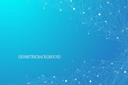 Geometrische grafische achtergrond molecuul en communicatie. Verbonden lijnen met stippen. Het concept van de wetenschap, chemie, biologie, geneeskunde, technologie. Vector illustratie.