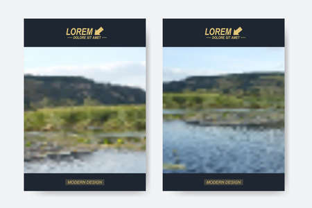 beach ad: Modern vector templates for brochure, Leaflet, flyer, cover, magazine or annual report in A4 size. Business design book layout. Abstract presentation with blur background.