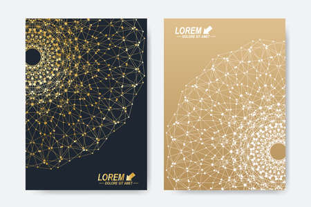 scrapbook elements: Modern vector template for brochure, Leaflet, flyer, cover, magazine or annual report. A4 size. Business, science, medicine and technology design book layout. Abstract presentation with golden mandala.