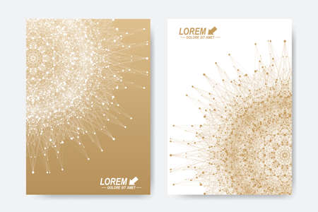 Modern vector template for brochure, Leaflet, flyer, cover, magazine or annual report. A4. Business, science, medicine and technology design book layout. Abstract presentation with golden mandala