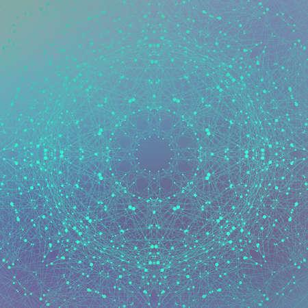 sfondo molecola e comunicazione grafica. Cavo di collegamento con i puntini. Geometrica composizione astratta per la progettazione. La scienza, la tecnologia di sfondo. illustrazione di vettore Vettoriali