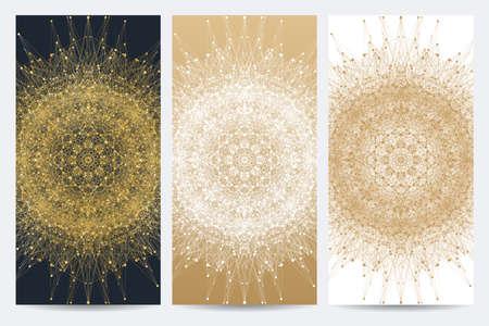 Moderne Reihe von Vektor-Flyer, Broschüre, Banner. Mandala mit verbundenen Linie und Punkte. Zusammenfassung Hintergrund heilige Geometrie Formen, Zeichen, Symbol.