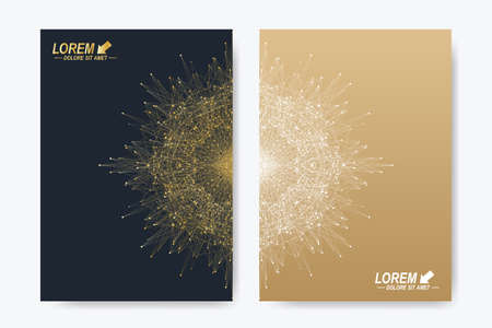 annual: Modern vector template for brochure, Leaflet, flyer, cover, magazine or annual report. A4. Business, science, medicine and technology design book layout. Abstract presentation with golden mandala
