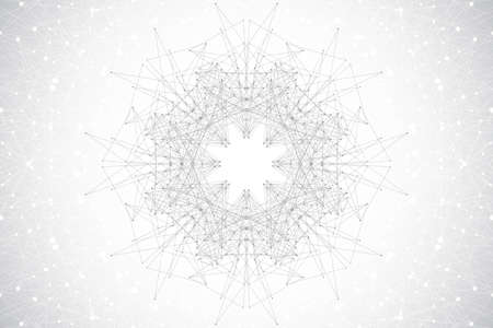 genom: Geometric abstract with connected line and dots, radial graphics. Minimalism chaotic background visualization. Linear sign, symbol. Big data composition. Vector illustration