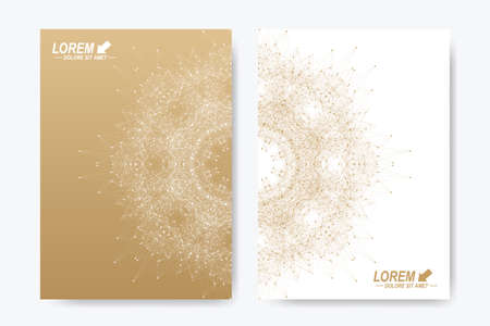 booklet design: Modern vector template for brochure, Leaflet, flyer, cover, magazine or annual report. A4 size. Business, science, medicine and technology design book layout. Abstract presentation with golden mandala