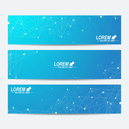 tecnology: Geometric abstract banners. Molecule and communication background for website templates. Geometric abstract background with connected line and dots. Vector illustration