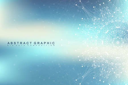 visualization: Geometric background molecule and communication. Social network information. Connected line with dots. Big data composition. Perspective visualization, radial graphics. Vector illustration Illustration
