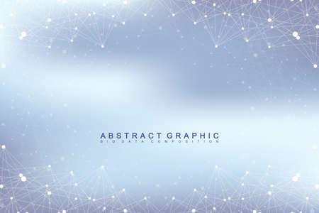 Grafica di sfondo astratto comunicazione. Grande visualizzazione dei dati. linee collegate con i puntini. Social networking. Illusione della profondità e prospettiva. illustrazione di vettore