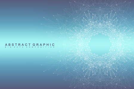 Fondo de la comunicación gráfica abstracta. visualización de datos grande. líneas conectadas con puntos. Redes sociales. Ilusión de profundidad y perspectiva. ilustración vectorial