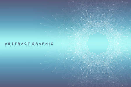 social networking: Graphic abstract background communication. Big data visualization. Connected lines with dots. Social networking. Illusion of depth and perspective. Vector illustration