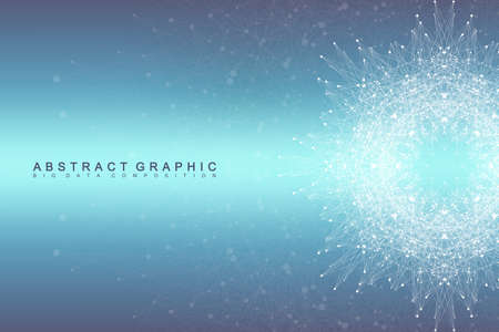 depth: Graphic abstract background communication. Big data visualization. Connected lines with dots. Social networking. Illusion of depth and perspective. Vector illustration