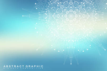 depth: Graphic abstract communication. Big data visualization. Connected lines with dots. Social networking. Illusion of depth and perspective. Vector illustration