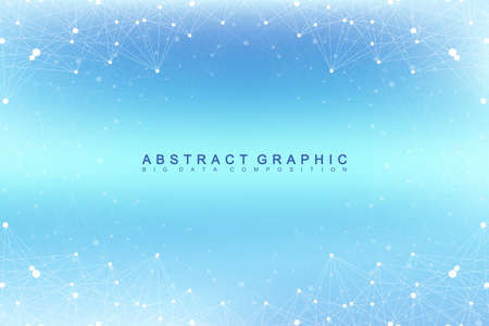 depth: Graphic abstract background communication. Big data visualization. Perspective backdrop with connected lines and dots. Social networking. Illusion of depth. Vector illustration