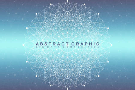 hexahedron: Fractal element with compounds lines and dots. Big data complex. Graphic abstract background communication. Minimal array. Digital data visualization. Vector illustration