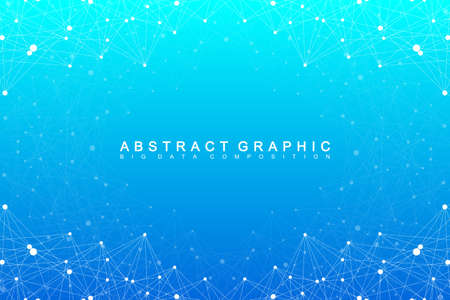 hyperspace: Big data complex. Graphic abstract background communication. Perspective backdrop of depth. Minimal array with compounds lines and dots. Digital data visualization. Vector illustration Big data