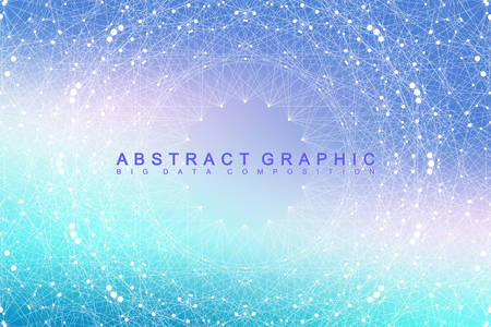 hyperspace: Big data complex. Graphic abstract background communication. Perspective backdrop of depth. Minimal array with compounds lines and dots. Digital data visualization. Big data vector illustration Illustration