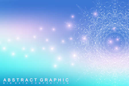 Graphic abstract background communication. Big data complex. Perspective backdrop of depth. Minimal array with compounds lines and dots. Digital data visualization. Big data vector illustration Illustration