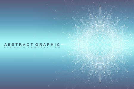 hyperspace: Graphic abstract background communication. Big data complex. Perspective backdrop of depth. Minimal array with compounds lines and dots. Digital data visualization. Big data vector illustration Illustration