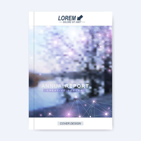 charter: Modern vector template for brochure, leaflet, flyer, cover, magazine or annual report. Layout in A4 size. Business, science and technology design book layout. Urban blurred background presentation