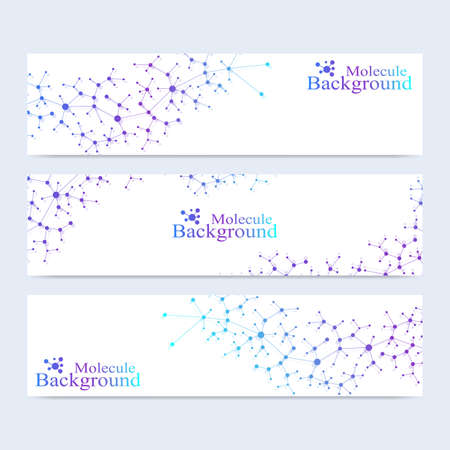 representation: Modern set of vector banners. Atom. DNA. Molecule and communication background for medicine, science, technology, chemistry. Medical scientific representation backdrop