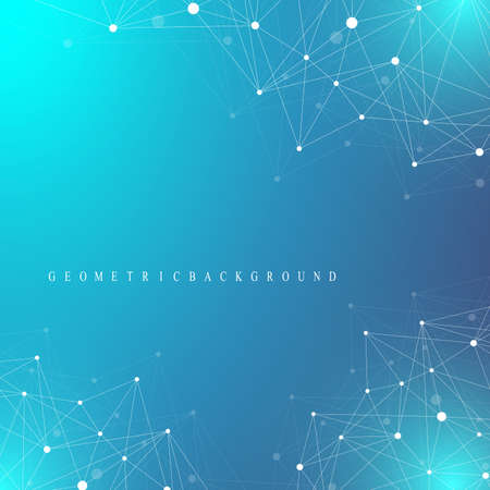 hyperspace: Geometric graphic background molecule and communication. Big data complex with compounds. Perspective backdrop. Minimal array Big data. Digital data visualization. Scientific vector illustration